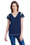 LAT LA3533 Womens Gameday Fine Jersey Lace Up Short Sleeve V-Neck T-Shirt Navy Blue Front