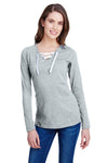 LAT LA3538 Womens Fine Jersey Lace Up Long Sleeve V-Neck T-Shirt Heather Grey Front