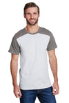LAT LA6911 Mens Fine Jersey Forward Shoulder Short Sleeve Crewneck T-Shirt Ash Grey/Charcoal Grey Front
