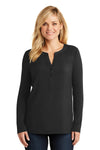 Port Authority LK5432 Womens Concept Jersey Long Sleeve Henley T-Shirt Black Front