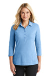 Port Authority LK581 Womens Coastal Moisture Wicking 3/4 Sleeve Polo Shirt Moonlight Blue/White Front