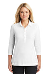 Port Authority LK581 Womens Coastal Moisture Wicking 3/4 Sleeve Polo Shirt White Front