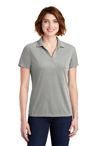 Port Authority LK582 Womens Oxford Moisture Wicking Short Sleeve Polo Shirt Black Front