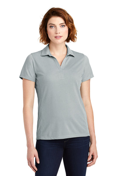 Port Authority LK582 Womens Oxford Moisture Wicking Short Sleeve Polo Shirt Gusty Grey Front