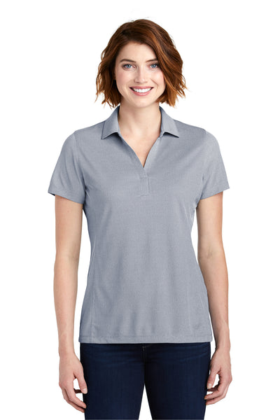 Port Authority LK582 Womens Oxford Moisture Wicking Short Sleeve Polo Shirt Navy Blue Front