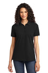 Port & Company LKP155 Womens Core Stain Resistant Short Sleeve Polo Shirt Black Front