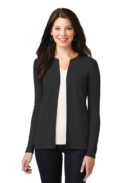 Port Authority LM1008 Womens Concept Long Sleeve Cardigan Sweater Black Front