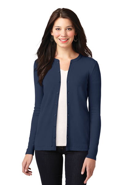 Port Authority LM1008 Womens Concept Long Sleeve Cardigan Sweater Navy Blue Front