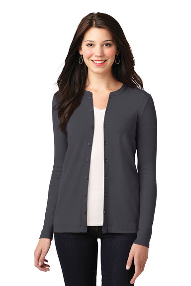 Port Authority LM1008 Womens Concept Long Sleeve Cardigan Sweater Smoke Grey Front
