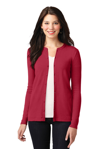 Port Authority LM1008 Womens Concept Long Sleeve Cardigan Sweater Red Front