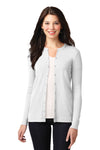 Port Authority LM1008 Womens Concept Long Sleeve Cardigan Sweater White Front