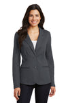 Port Authority LM2000 Womens Knit Button Down Blazer Battleship Grey Front