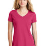New Era Womens Heritage Short Sleeve V-Neck T-Shirt - Deep Pink