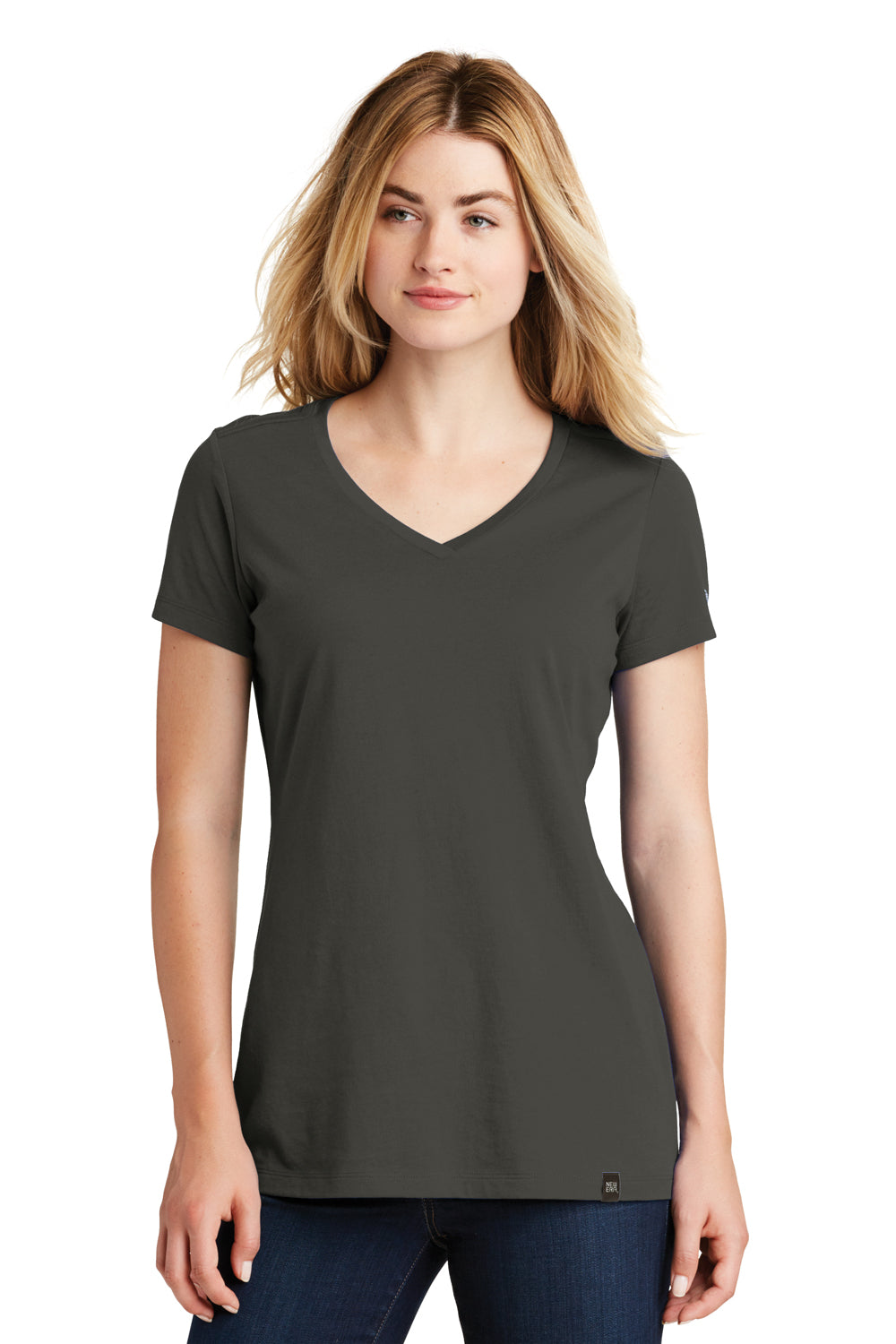 New Era LNEA101 Womens Heritage Short Sleeve V-Neck T-Shirt Graphite Grey Front
