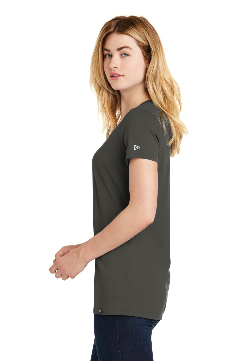 New Era LNEA101 Womens Heritage Short Sleeve V-Neck T-Shirt Graphite Grey Side