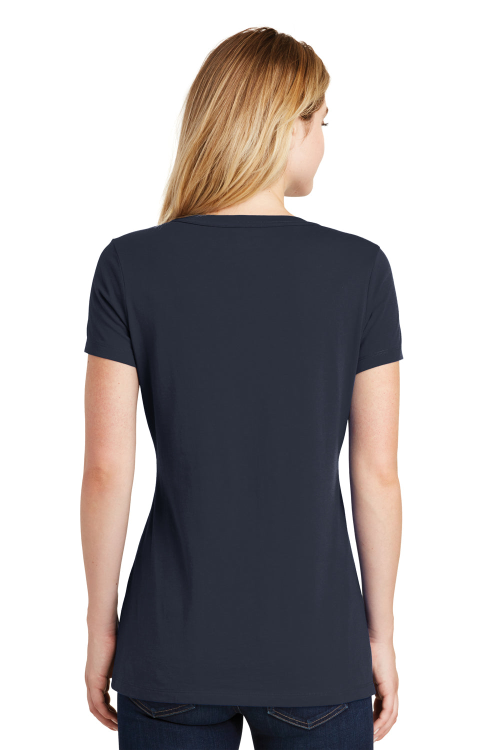 New Era LNEA101 Womens Heritage Short Sleeve V-Neck T-Shirt Navy Blue Back