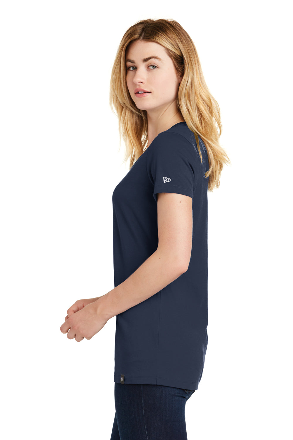 New Era LNEA101 Womens Heritage Short Sleeve V-Neck T-Shirt Navy Blue Side