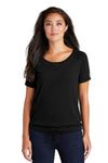 New Era LNEA133 Womens Performance Cinch Moisture Wicking Short Sleeve Wide Neck T-Shirt Black Front