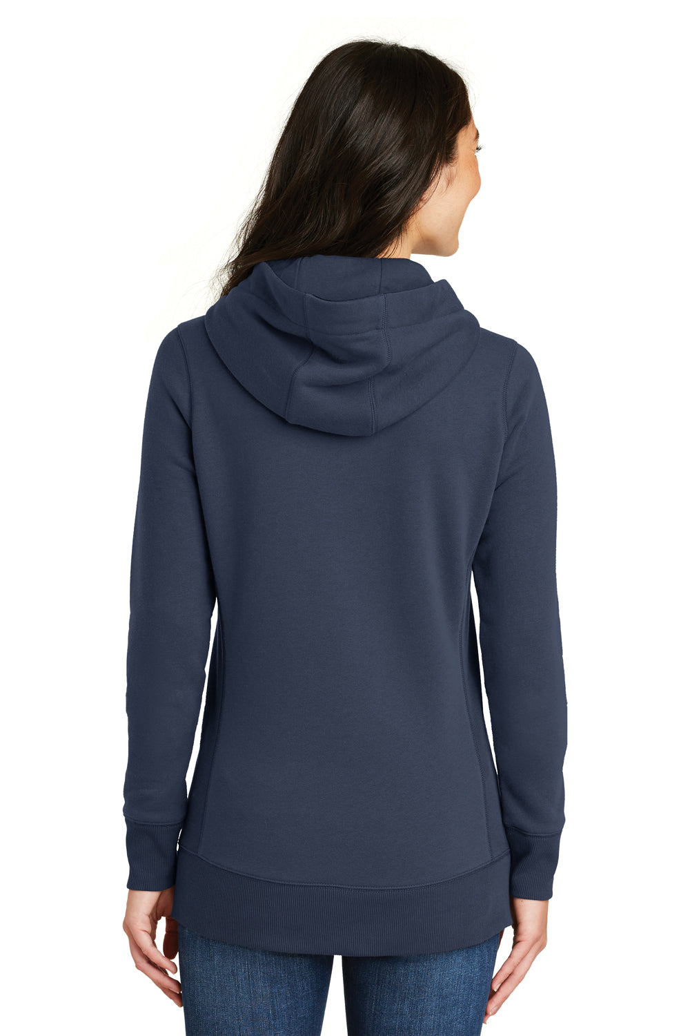 New Era LNEA500 Womens Sueded French Terry Hooded Sweatshirt Hoodie Navy Blue Back