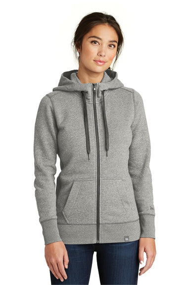 New Era LNEA502 Womens Sueded French Terry Full Zip Hooded Sweatshirt Hoodie Light Graphite Grey Twist Front