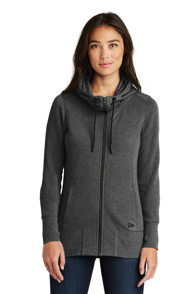 New Era LNEA511 Womens Fleece Full Zip Hooded Sweatshirt Hoodie Heather Black Front