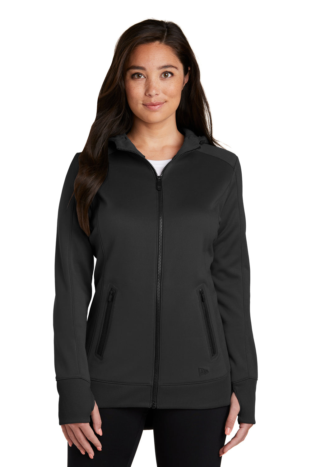 New Era LNEA522 Womens Venue Moisture Wicking Fleece Full Zip Hooded Sweatshirt Hoodie Black Front