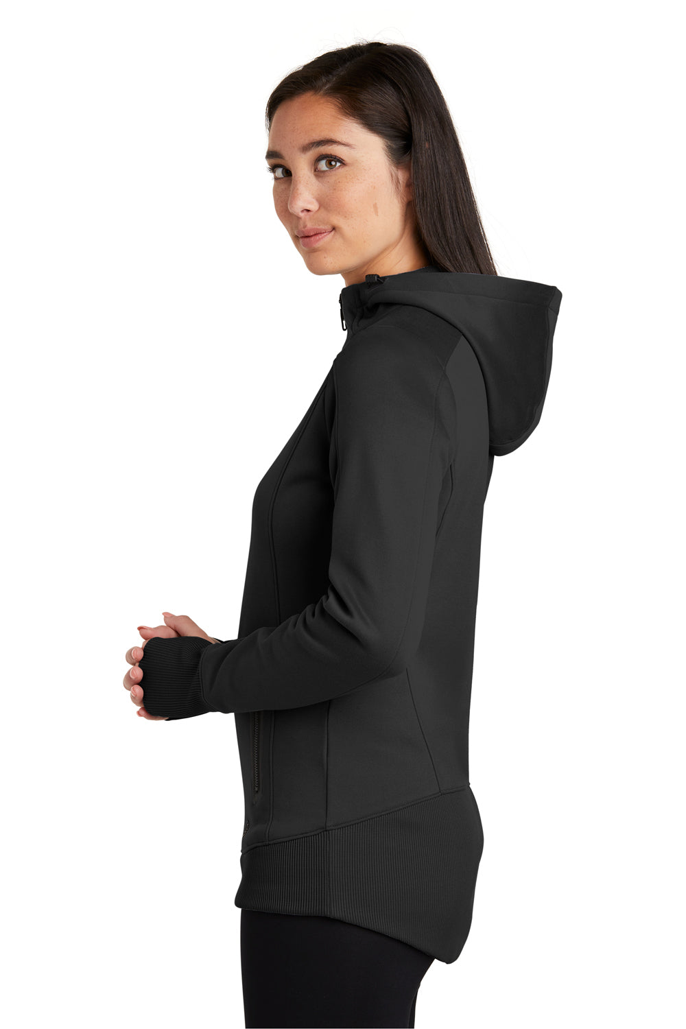 New Era LNEA522 Womens Venue Moisture Wicking Fleece Full Zip Hooded Sweatshirt Hoodie Black Side