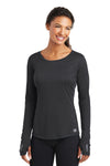 Ogio LOE321 Womens Endurance Pulse Jersey Moisture Wicking Long Sleeve Crewneck T-Shirt Black Front
