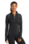 Ogio LOE335 Womens Endurance Nexus Moisture Wicking 1/4 Zip Sweatshirt Black Front