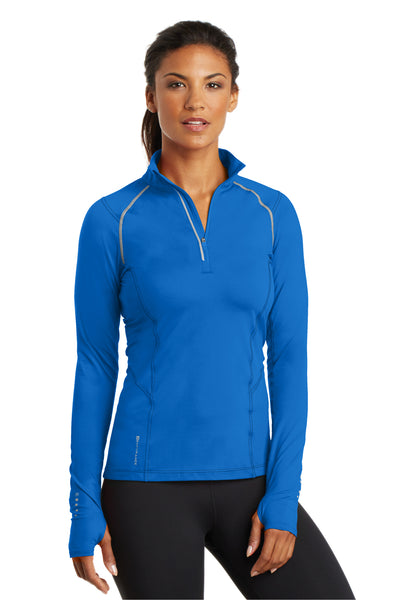 Ogio LOE335 Womens Endurance Nexus Moisture Wicking 1/4 Zip Sweatshirt Electric Blue Front