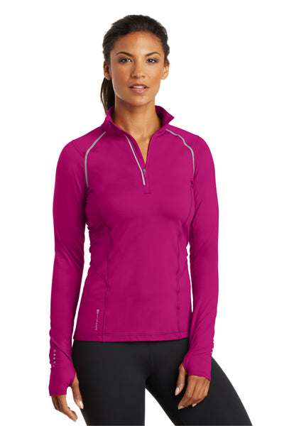 Ogio LOE335 Womens Endurance Nexus Moisture Wicking 1/4 Zip Sweatshirt Flush Pink Front