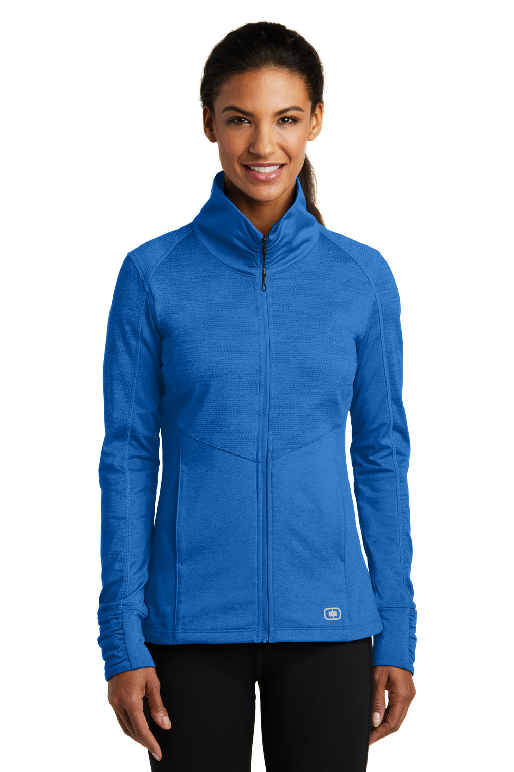 Ogio LOE702 Womens Endurance Sonar Full Zip Jacket Heather Electric Blue Front