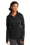 Ogio LOE721 Womens Endurance Pivot Wind & Water Resistant Full Zip Hooded Jacket Black/Grey Front