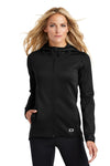 Ogio LOE728 Womens Endurance Stealth Moisture Wicking Full Zip Hooded Jacket Black Front