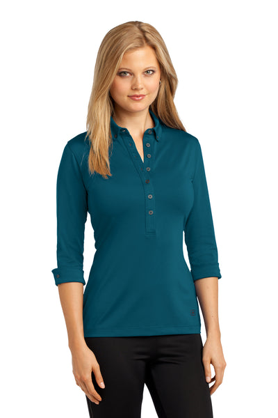 Ogio LOG122 Womens Gauge Moisture Wicking 3/4 Sleeve Polo Shirt Teal Blue Front
