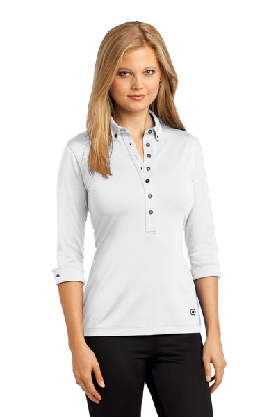 Ogio LOG122 Womens Gauge Moisture Wicking 3/4 Sleeve Polo Shirt White Front