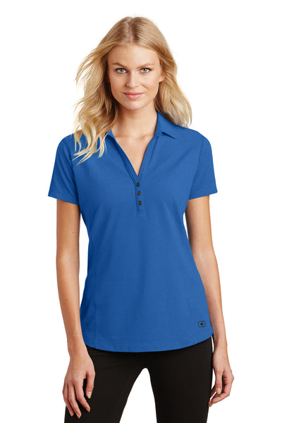 Ogio LOG126 Womens Onyx Moisture Wicking Short Sleeve Polo Shirt Electric Blue Front