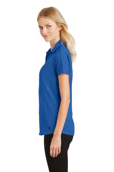Ogio LOG126 Womens Onyx Moisture Wicking Short Sleeve Polo Shirt Electric Blue Side