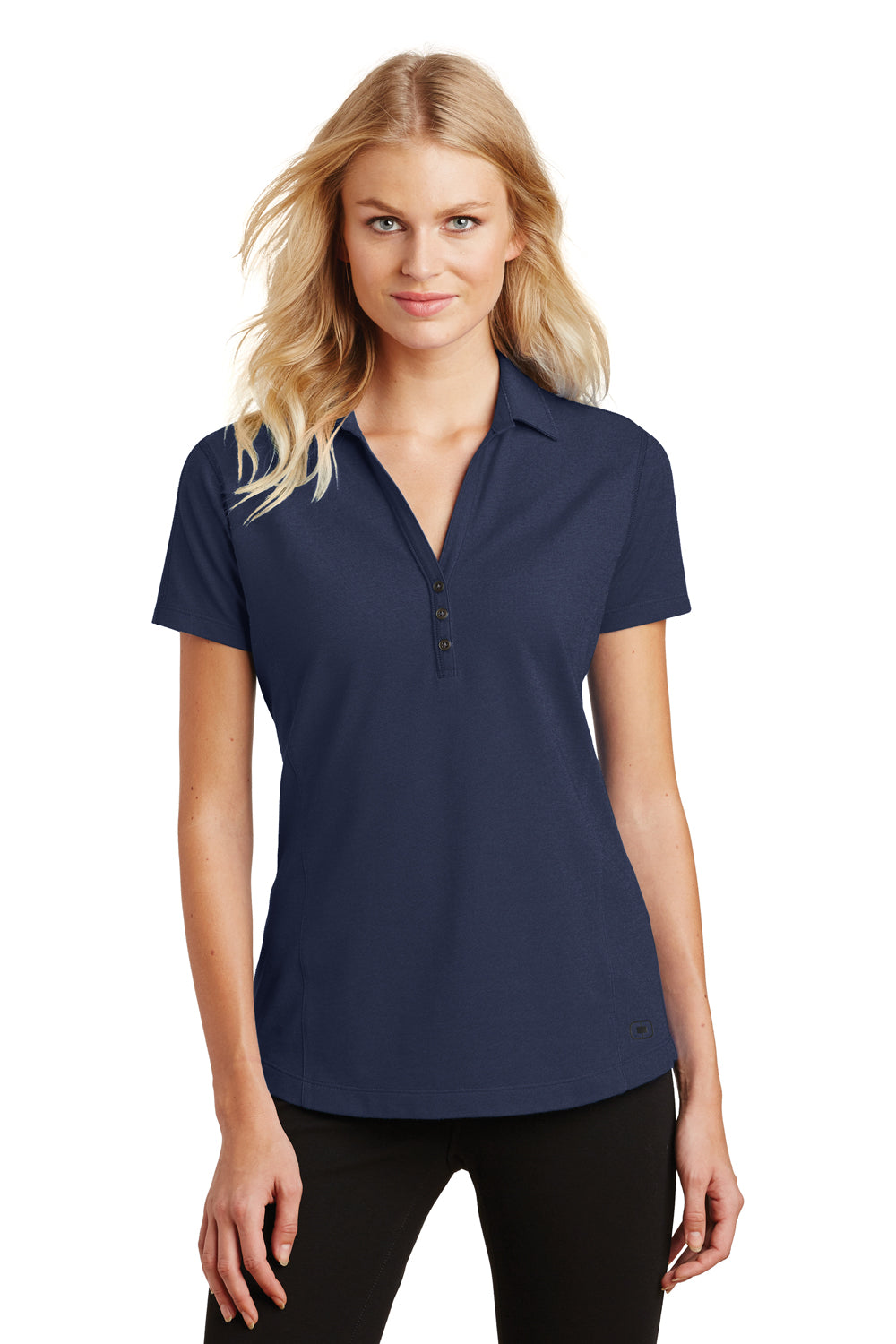 Ogio LOG126 Womens Onyx Moisture Wicking Short Sleeve Polo Shirt Navy Blue Front