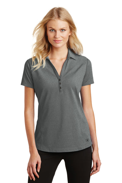 Ogio LOG126 Womens Onyx Moisture Wicking Short Sleeve Polo Shirt Petrol Grey Front