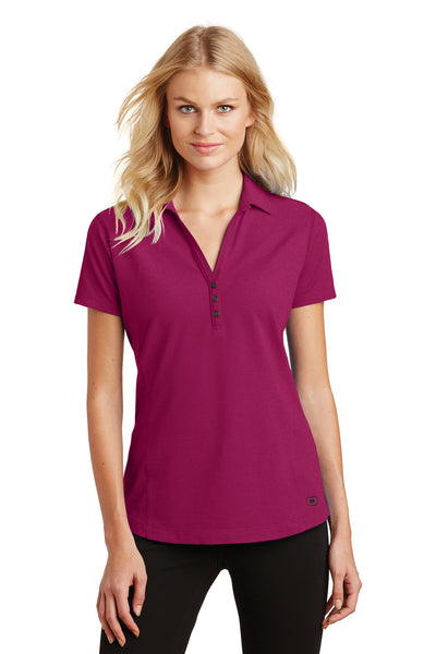 Ogio LOG126 Womens Onyx Moisture Wicking Short Sleeve Polo Shirt Fuchsia Pink Front
