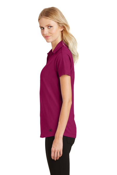 Ogio LOG126 Womens Onyx Moisture Wicking Short Sleeve Polo Shirt Fuchsia Pink Side