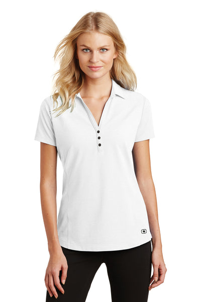 Ogio LOG126 Womens Onyx Moisture Wicking Short Sleeve Polo Shirt White Front