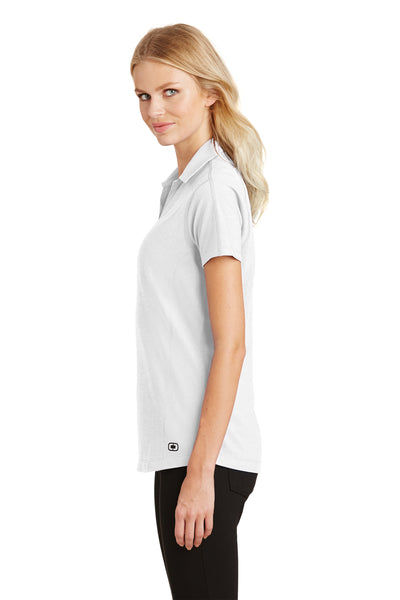 Ogio LOG126 Womens Onyx Moisture Wicking Short Sleeve Polo Shirt White Side