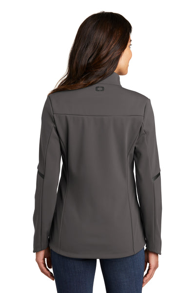 Ogio LOG725 Womens Exaction Wind & Water Resistant Full Zip Jacket Tarmac Grey Back