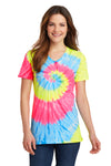 Port & Company LPC147V Womens Tie-Dye Short Sleeve V-Neck T-Shirt Neon Rainbow Front