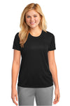 Port & Company LPC380 Womens Dry Zone Performance Moisture Wicking Short Sleeve Crewneck T-Shirt Black Front