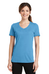 Port & Company LPC381V Womens Dry Zone Performance Moisture Wicking Short Sleeve V-Neck T-Shirt Aqua Blue Front