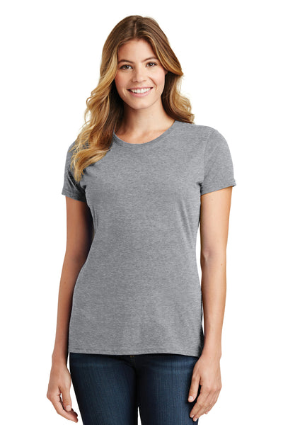 Port & Company LPC450 Womens Fan Favorite Short Sleeve Crewneck T-Shirt Heather Grey Front