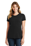 Port & Company LPC450 Womens Fan Favorite Short Sleeve Crewneck T-Shirt Black Front
